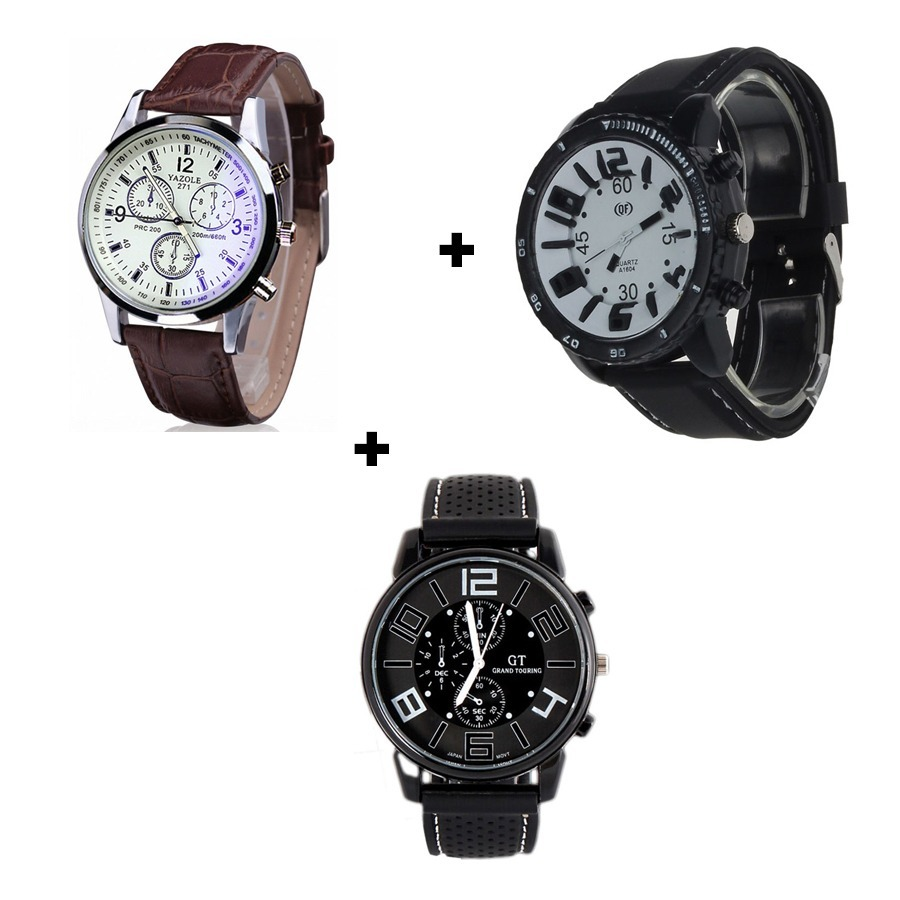 670f6609dab kit 3 relógios masculinos de silicone e couro bonito baratos. Carregando  zoom.