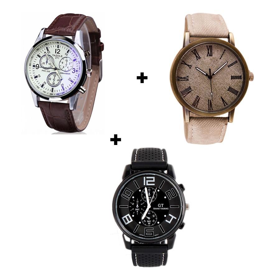 961f0ec2a4e kit 3 relógios masculinos simples e bonitos para o dia a dia ...
