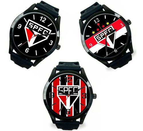 kit 3 relógios pulso esportivo são paulo barato masculino