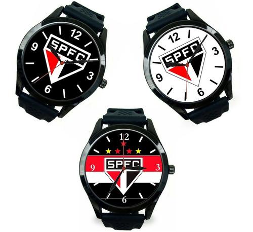kit 3 relógios pulso são paulo esportivo barato masculino