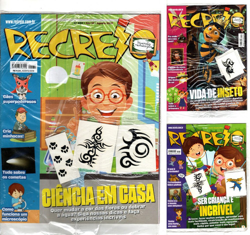 kit 3 revistas recreio lacrada com brinde