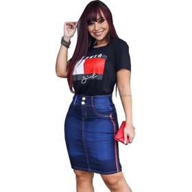 Kit 3 Saia Jeans Feminina Moda Evangelica Com Lycra Variadas
