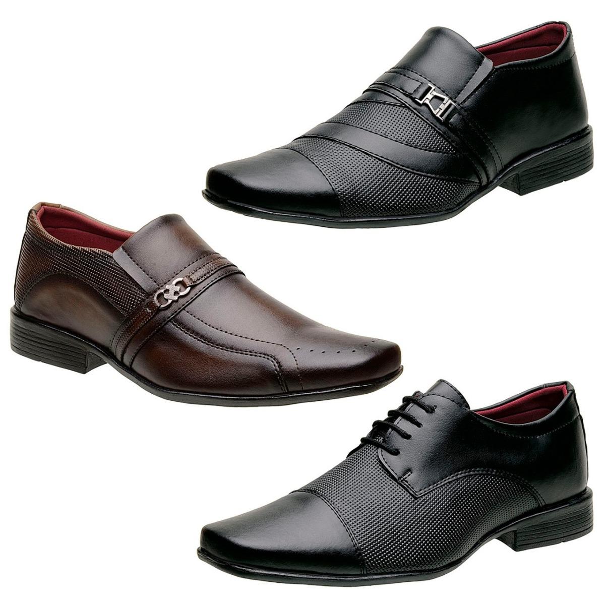 1904e69468 Kit 3 Sapatos Sociais Masculinos 1 Marrom E 2 Pretos - R$ 159,90 em ...