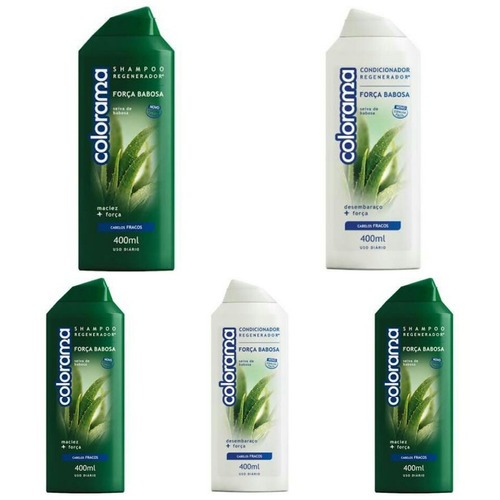 kit 3 shampoo + 2 condicionador colorama babosa 400ml