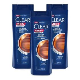 Kit 3 Shampoos Anticaspa Clear Men Controle Da Queda 200ml