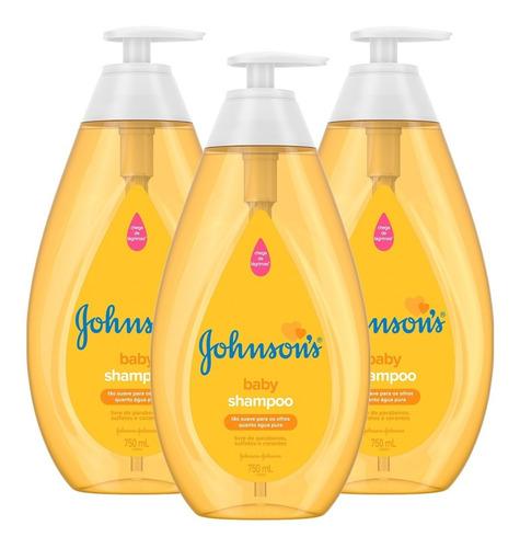kit 3 shampoos johnsons baby regular 750ml