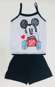 65919ce26 Kit 3 Short Doll Feminino Mickey Atacado Pijama Regata Alça