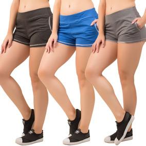 14c021890 Kit 3 Short Ribana Feminino Moletom Bolso Moda 2019 Atacado