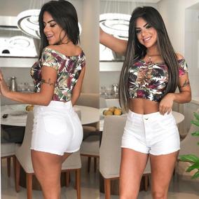 7858b20c6 Short Branco Lycra - Shorts para Feminino no Mercado Livre Brasil