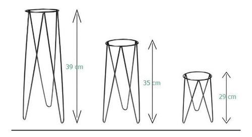 kit 3 suporte para vaso de plantas diâmetro vaso 20 cm preto