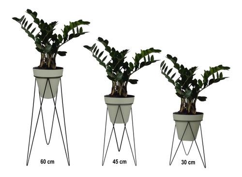 kit 3 suportes para vaso de plantas tripé + 3 vasos marfim