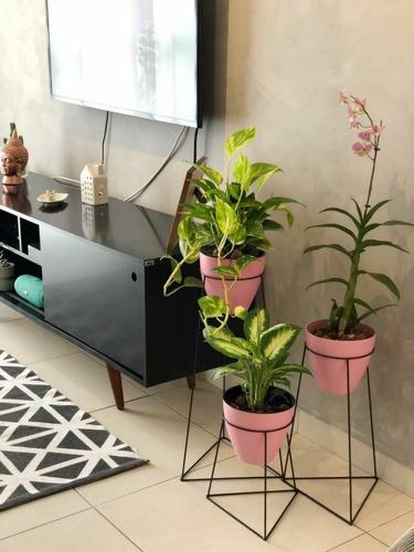 kit 3 suportes para vasos de plantas - triangular