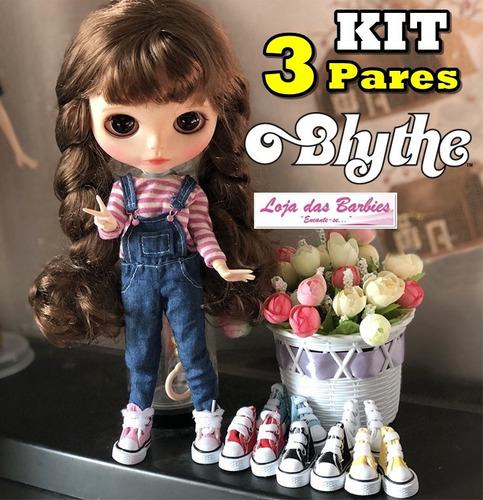 kit 3 tênis boneca blythe pullip all star sapatos sapatinhos