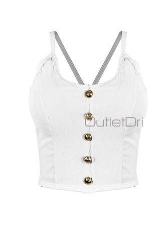 kit 3 top blusa cropped alcinha canelado bojo botão frontal