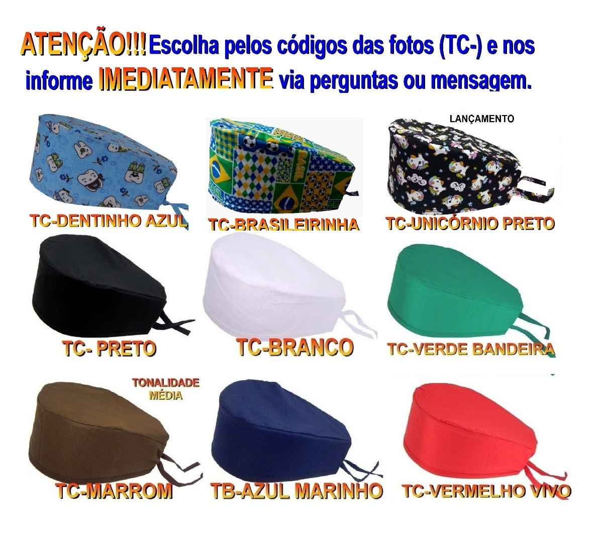 Kit 3 Touca Bandana Cirurgica Chef Gorro Clart s - R  27 5188fd0b1c2