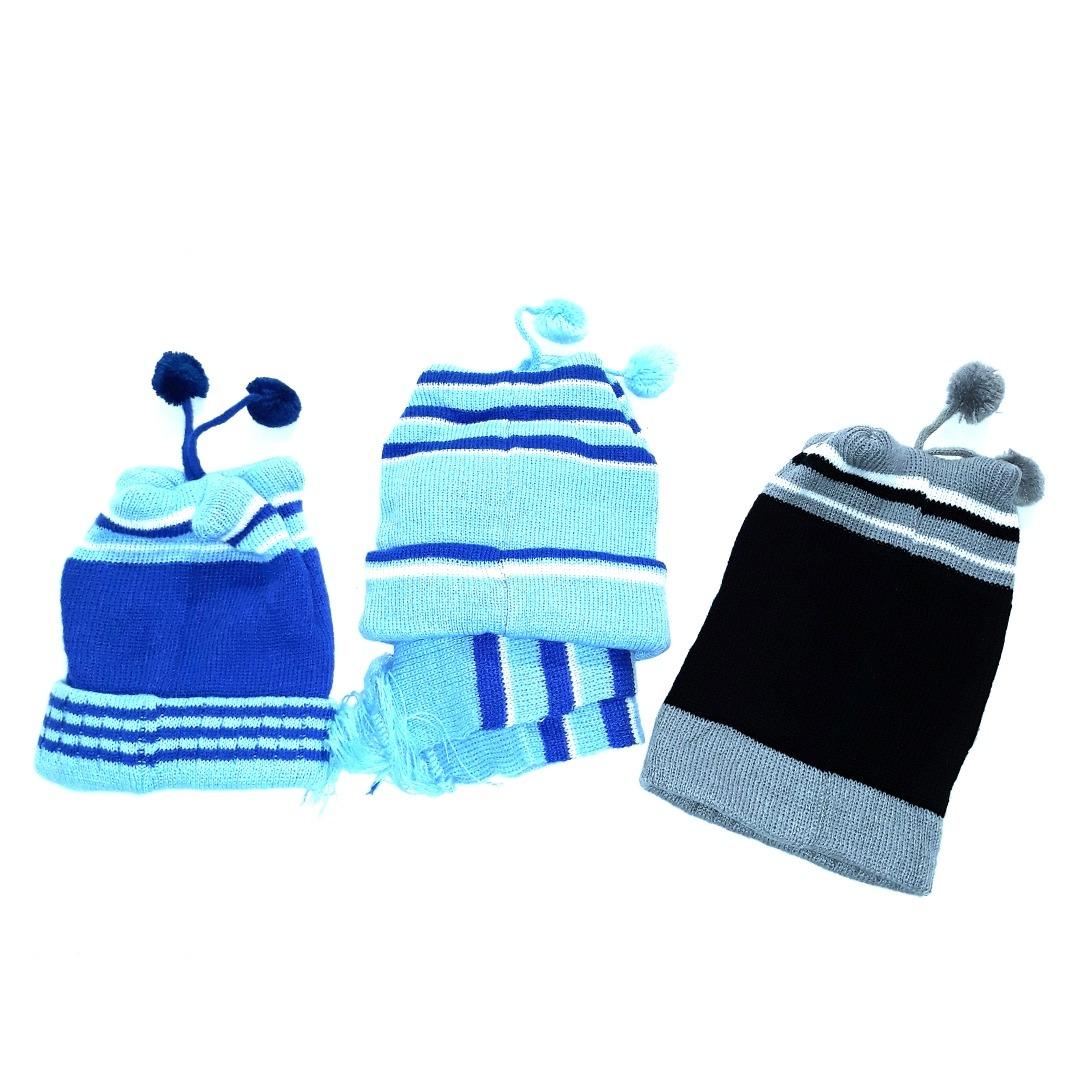 c2462e1960045 kit 3 toucas gorro infantil menino masculino. 4 Fotos