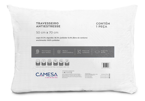 kit 3 travesseiros anti stress suporte firme 50x70cm camesa