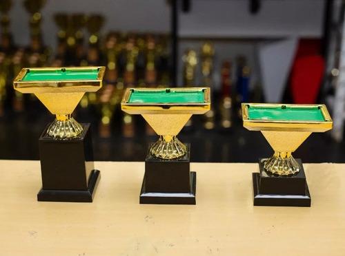 kit 3 troféus sinuca personalizados