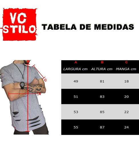 kit 3 un. camiseta oversized swag longline alongada vcstilo
