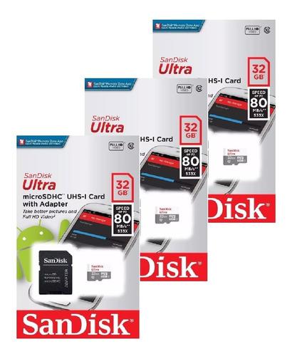 kit 3 unidades cartão de memória micro sd ultra 32gb sandisk