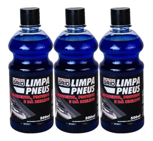 kit 3 unidades limpa pneus auto grid 500ml
