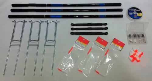 kit 3 varas telescópicas porta varas suporte linha anzóis