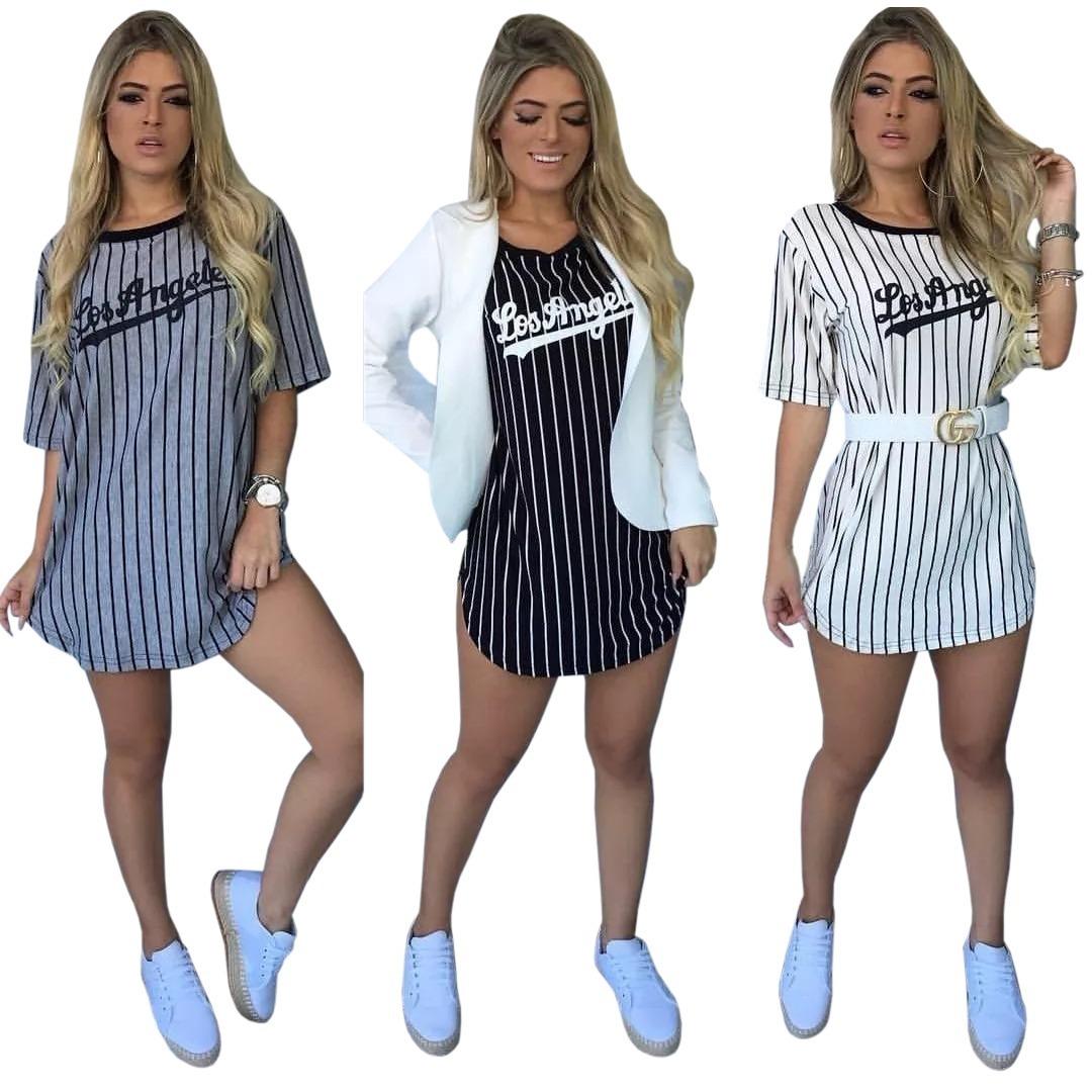 7e2241bb0 Kit 3 Vestidos Para Usar Com Tenis Listrado Moda Blogueira - R$ 90,00 em  Mercado Livre