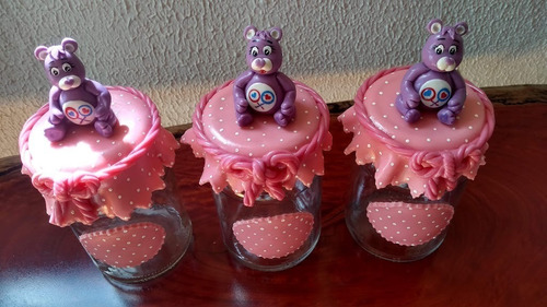 kit 3 vidros decorados porcelana fria ursinhos carinhosos
