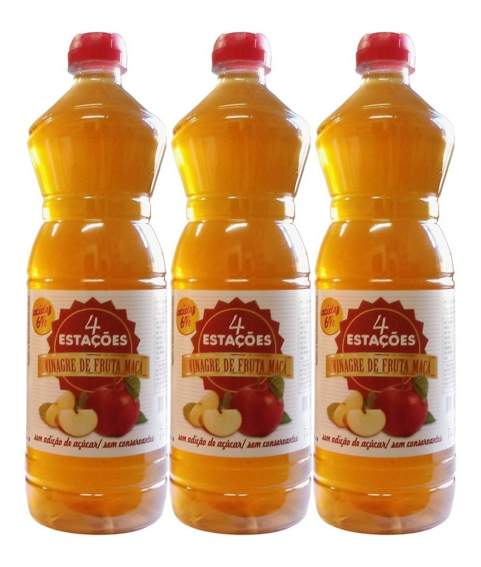 Vinagre De Maçã 6% 740ml Zero Açúcar 100% Natural Kit 3 Unidades