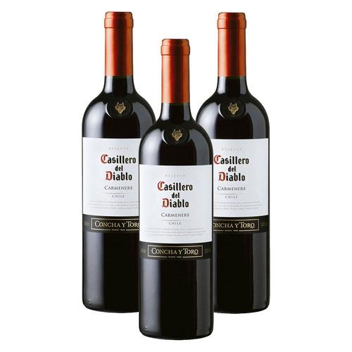 kit: 3 vinhos chileno casillero carmenere tinto original