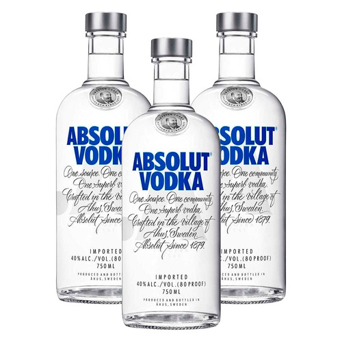 kit: 3 vodkas importada absolut natural original - 750ml