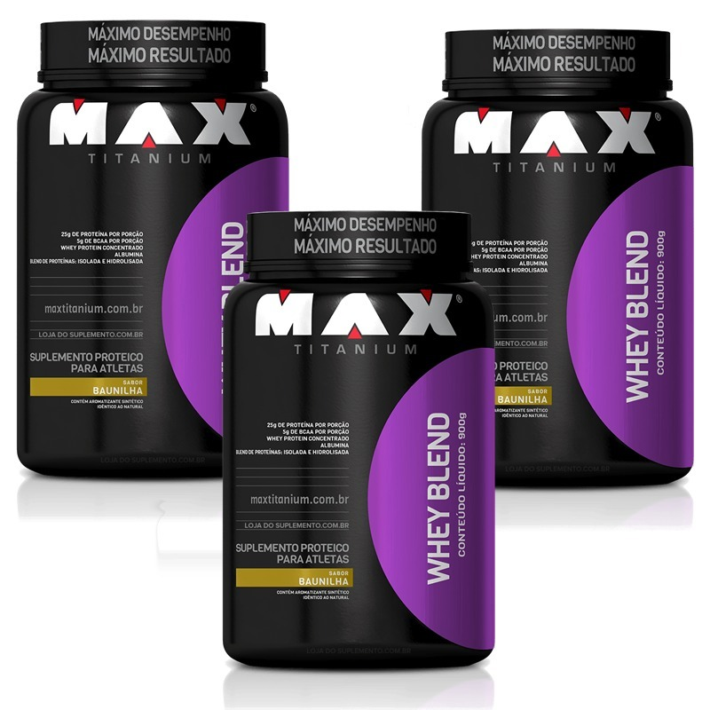 42e9cc7ea Kit 3 Whey Protein Blend 900g Max Titanium Peso Total 2