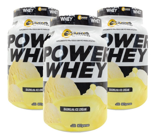 kit 3 whey protein power suplemento 907g -baunilha ice cream