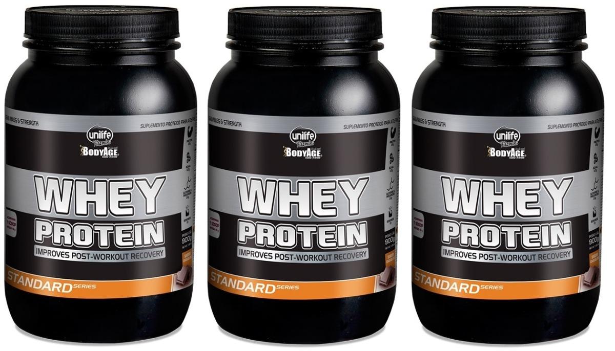 18bf2e9b3 kit 3 whey protein standard - unilife - 900g chocolate. Carregando zoom.