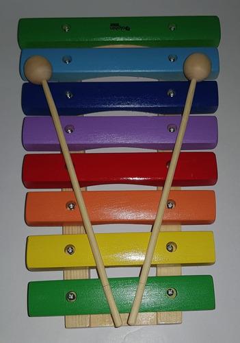 kit 3 xilofone infantil de 8 notas dolphin madeira colorido