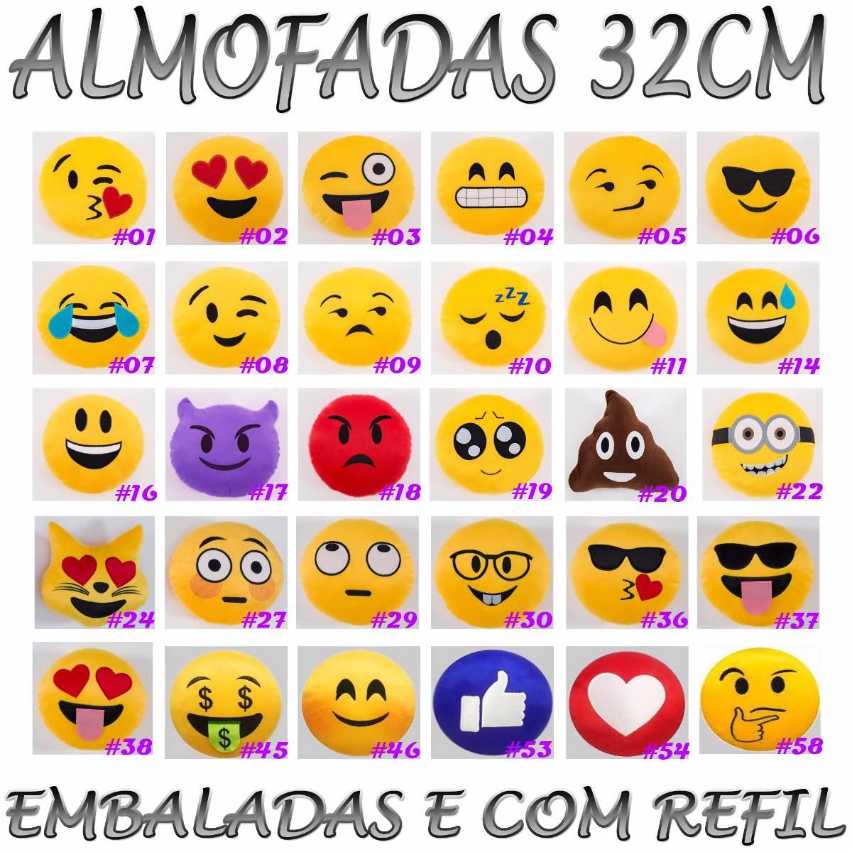 ad48496f488889 Kit 30 Almofada Emoticon Zapzap Watts App Emoji 32cm Bordado