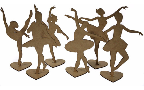 kit 30 bailarina 25cm centro de mesa mdf cru lembrancinha