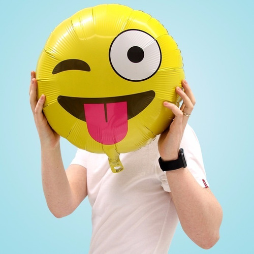 kit 30 balão metalizado emojis grande smile whatszap 45cm