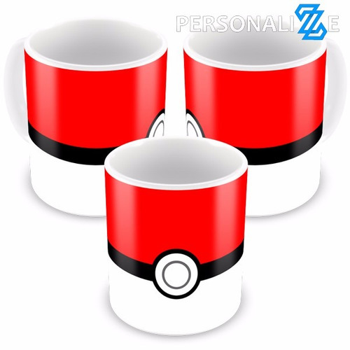 kit 30 canecas porcelana pokebola pokemon minimalista + nome