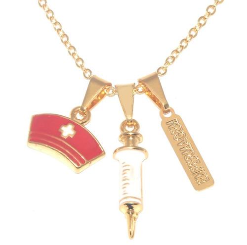 kit 30 colares enfermagem esteto seringa folheado ouro 18k
