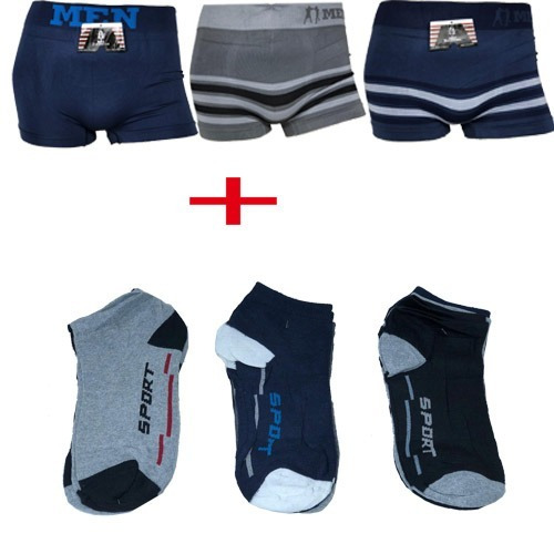 kit 30 cuecas boxer men atacado+ 12 pares de meias