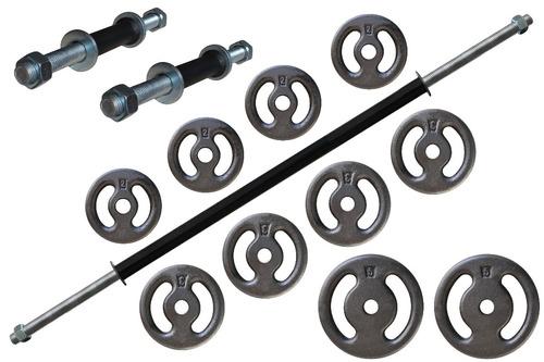 kit 30 kg anilhas+ barras rosqueadas frete grátis sp capital