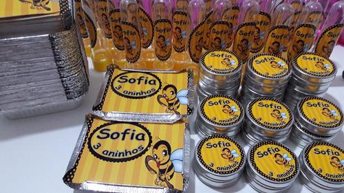kit 30 latinhas + 30 marmitinhas + 30 tubetes personalizados