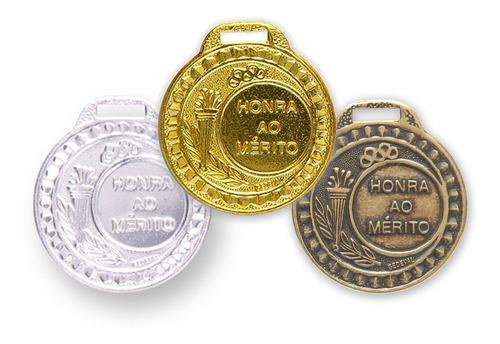 kit 30 medalhas metal 29mm honra mérito - ouro prata bronze