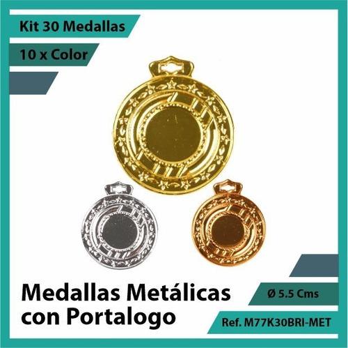 kit 30 medallas en bogota de portalogo oro metalica m77k30