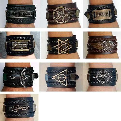 kit 30 pulseiras masculino feminina couro bracelete atacado