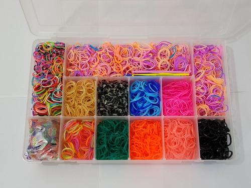 kit 3000 elásticos para fazer pulseira - loom bands