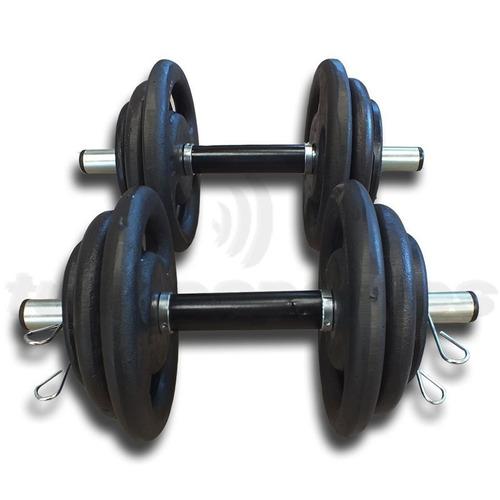 kit 30kg anilhas + 2 barras 40cm + 1 barra 120cm - top