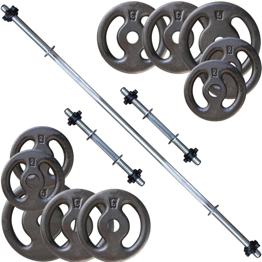 66b1a77bd kit 30kg anilhas + barras   halteres 1.20 e 2 de 40cm. Carregando zoom.