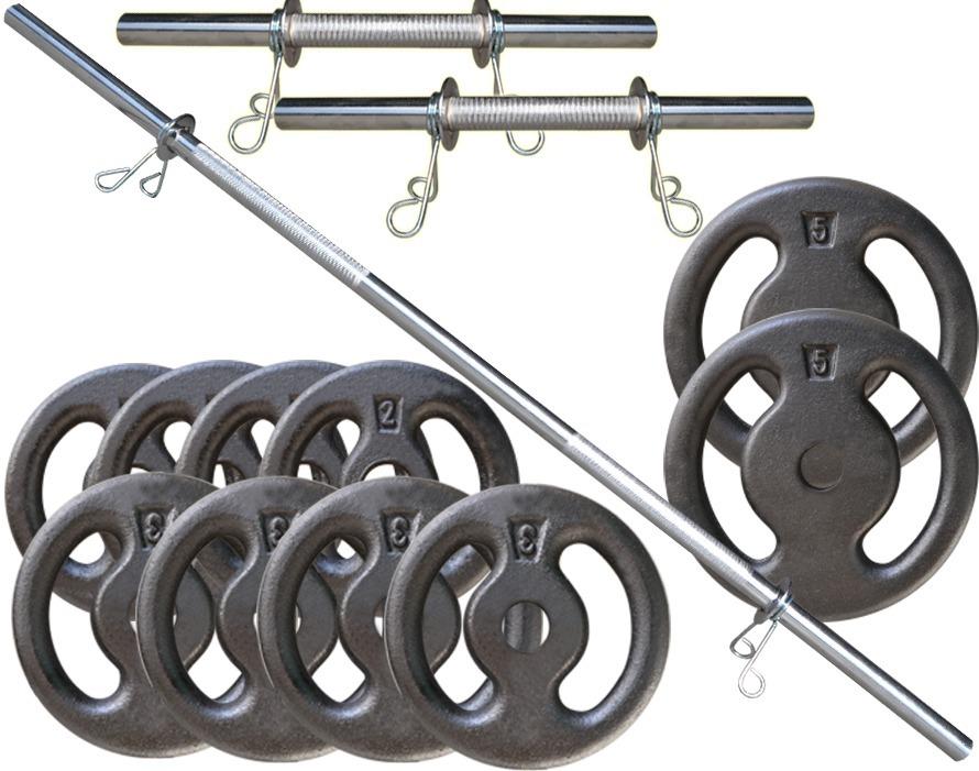 7d1e8c4de kit 30kg de anilhas + barras maciças cromadas halteres. Carregando zoom.